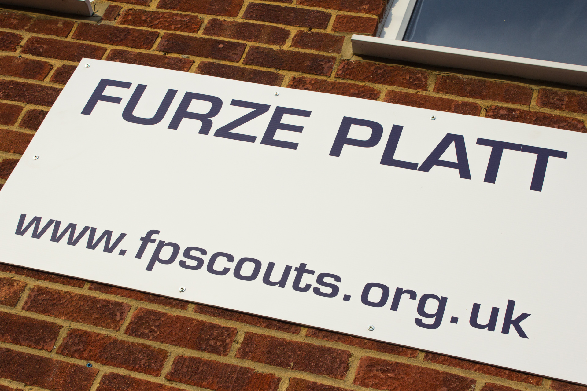 Signage outside the Scout Hut.